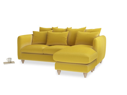 Large right hand Podge Chaise Sofa in Bumblebee clever velvet