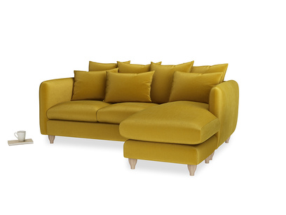 Large right hand Podge Chaise Sofa in Burnt yellow vintage velvet