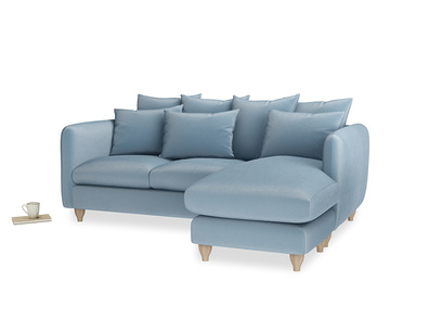 Large right hand Podge Chaise Sofa in Chalky blue vintage velvet