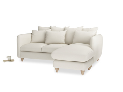 Large right hand Podge Chaise Sofa in Chalky White Clever Softie