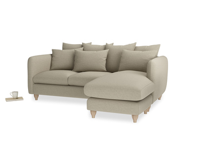 Large right hand Podge Chaise Sofa in Jute vintage linen