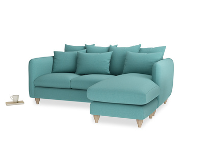 Large right hand Podge Chaise Sofa in Peacock brushed cotton