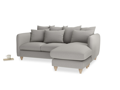 Large right hand Podge Chaise Sofa in Wolf brushed cotton