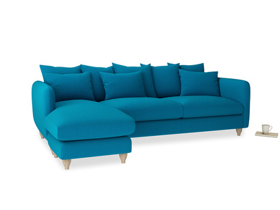 XL Left Hand  Podge Chaise Sofa in Bermuda Brushed Cotton