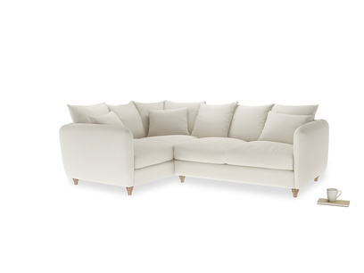 Large Left Hand Podge Corner Sofa in Chalky White Clever Softie