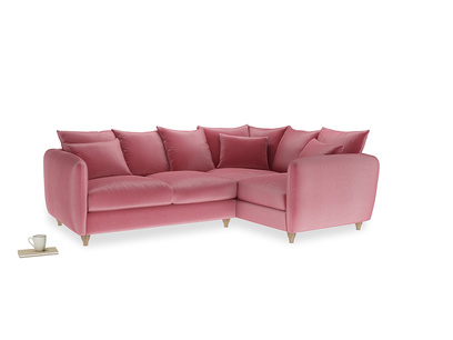 Large Right Hand Podge Corner Sofa in Blushed pink vintage velvet