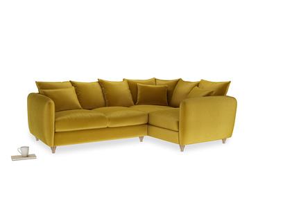 Large Right Hand Podge Corner Sofa in Burnt yellow vintage velvet