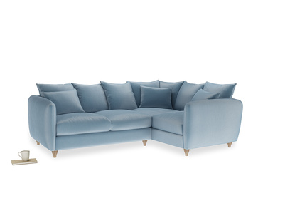 Large Right Hand Podge Corner Sofa in Chalky blue vintage velvet