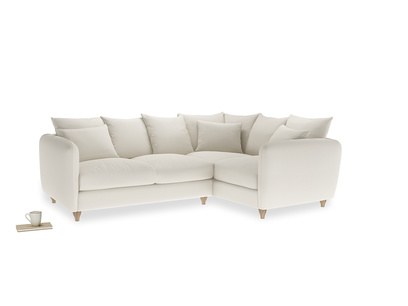 Large Right Hand Podge Corner Sofa in Chalky White Clever Softie