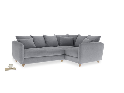 Large Right Hand Podge Corner Sofa in Dove grey wool