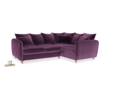 Large Right Hand Podge Corner Sofa in Grape clever velvet