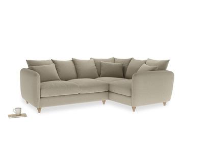 Large Right Hand Podge Corner Sofa in Jute vintage linen