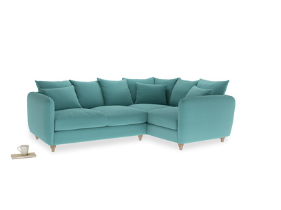 Large Right Hand Podge Corner Sofa in Peacock brushed cotton