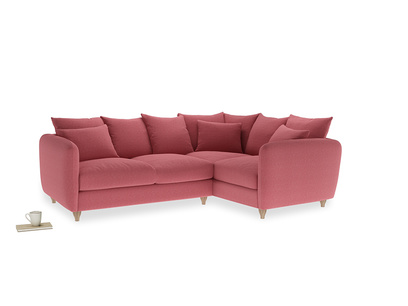 Large Right Hand Podge Corner Sofa in Raspberry brushed cotton