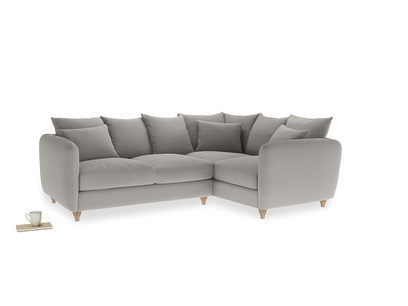 Large Right Hand Podge Corner Sofa in Wolf brushed cotton