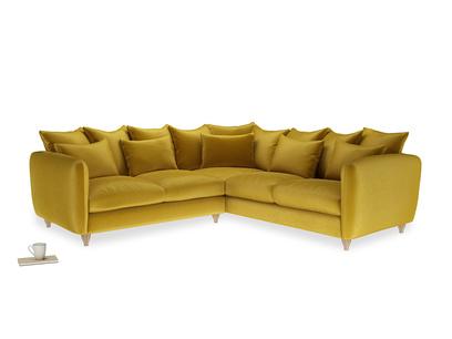 Even Sided Podge Corner Sofa in Burnt yellow vintage velvet