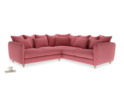 Even Sided Podge Corner Sofa in Raspberry brushed cotton
