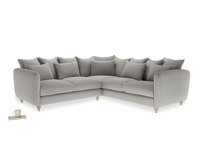 Even Sided Podge Corner Sofa in Wolf brushed cotton