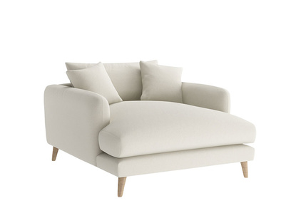 Oat Brushed Cotton Squishmeister Loveseat Chaise