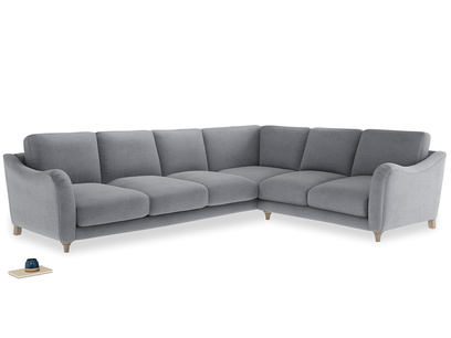 Xl Right Hand Bumpster Corner Sofa in Dove grey wool