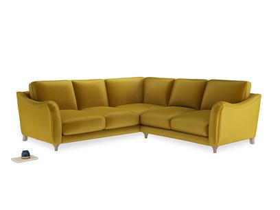 Even Sided Bumpster Corner Sofa in Burnt yellow vintage velvet