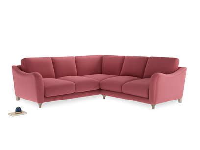 Even Sided Bumpster Corner Sofa in Raspberry brushed cotton
