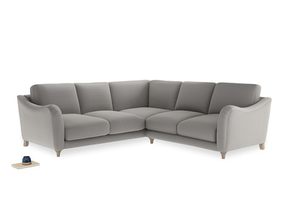 Even Sided Bumpster Corner Sofa in Wolf brushed cotton
