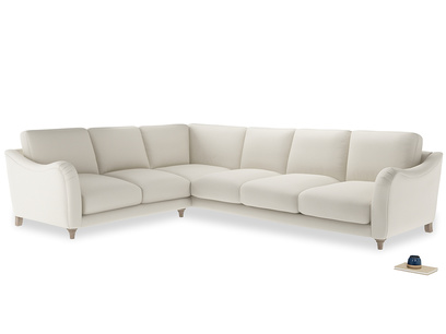 Xl Left Hand Bumpster Corner Sofa in Chalky White Clever Softie