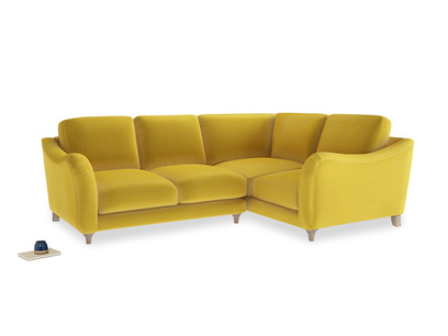 Large Right Hand Bumpster Corner Sofa in Bumblebee clever velvet
