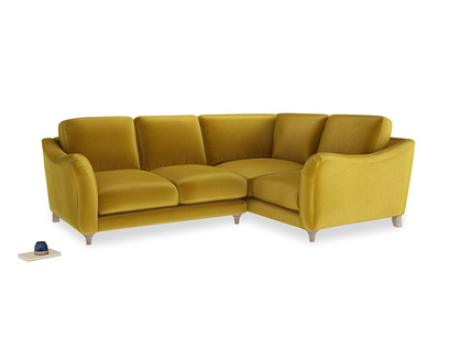 Large Right Hand Bumpster Corner Sofa in Burnt yellow vintage velvet