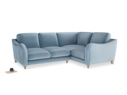 Large Right Hand Bumpster Corner Sofa in Chalky blue vintage velvet