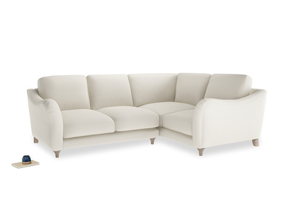 Large Right Hand Bumpster Corner Sofa in Chalky White Clever Softie