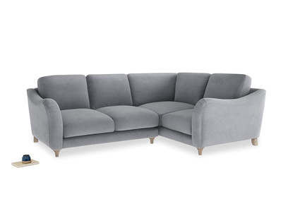 Large Right Hand Bumpster Corner Sofa in Dove grey wool