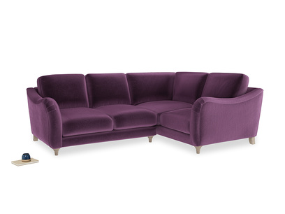 Large Right Hand Bumpster Corner Sofa in Grape clever velvet