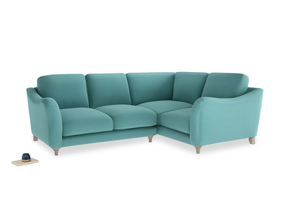 Large Right Hand Bumpster Corner Sofa in Peacock brushed cotton
