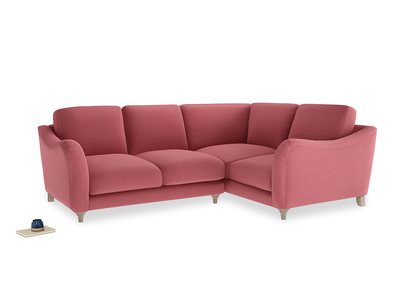 Large Right Hand Bumpster Corner Sofa in Raspberry brushed cotton