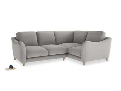 Large Right Hand Bumpster Corner Sofa in Wolf brushed cotton