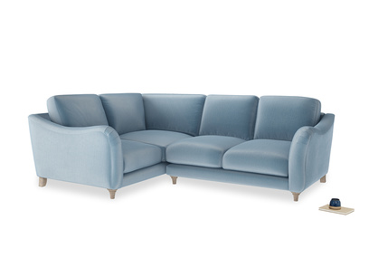 Large Left Hand Bumpster Corner Sofa in Chalky blue vintage velvet