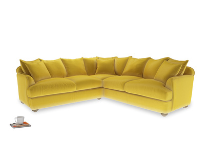 Even Sided Smooch Corner Sofa in Bumblebee clever velvet