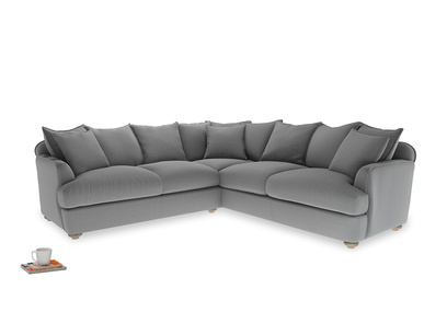 Even Sided Smooch Corner Sofa in Gun Metal brushed cotton