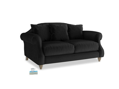 Small Sloucher Sofa in Blackboard Vintage Velvet