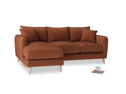 Large left hand Squishmeister Chaise Sofa in Praline Plush Velvet