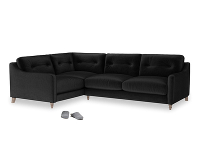 Large Left Hand Slim Jim Corner Sofa in Blackboard Vintage Velvet