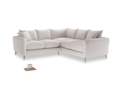 Even Sided Squishmeister Corner Sofa in Winter White Clever Velvet