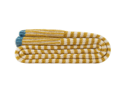 Easy Knit Throw blanket in Burnt Custard Yellow