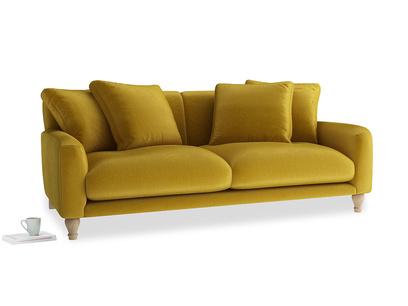 Large Bear Hug Sofa in Burnt yellow vintage velvet
