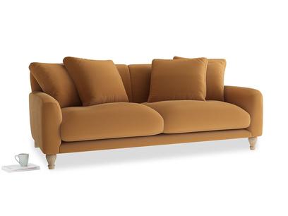 Large Bear Hug Sofa in Caramel Plush Velvet