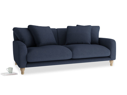 Large Bear Hug Sofa in Night Owl Blue Clever Woolly Fabric