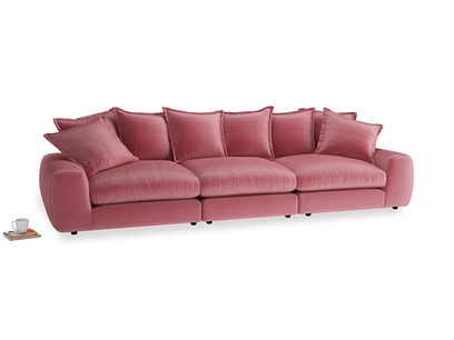 Large Wodge Modular Sofa in Blushed pink vintage velvet