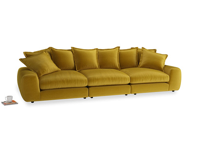 Large Wodge Modular Sofa in Burnt yellow vintage velvet